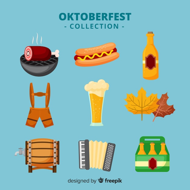 Classic oktoberfest element collection with flat design Free Vector