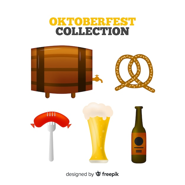 Classic oktoberfest element collection with realistic design Free Vector