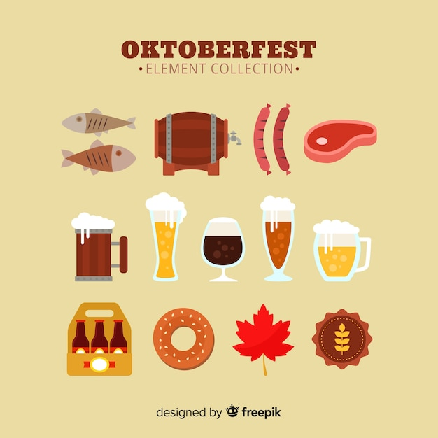 Classic oktoberfest element collecton with flat design Free Vector