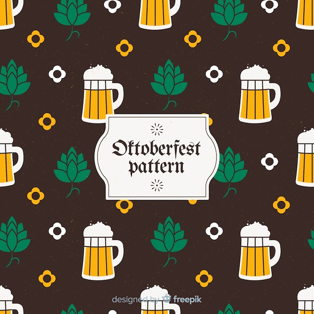 Classic oktoberfest pattern with flat design Free Vector