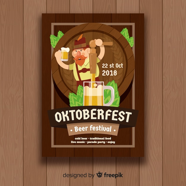 Classic oktoberfest poster template with flat design Free Vector