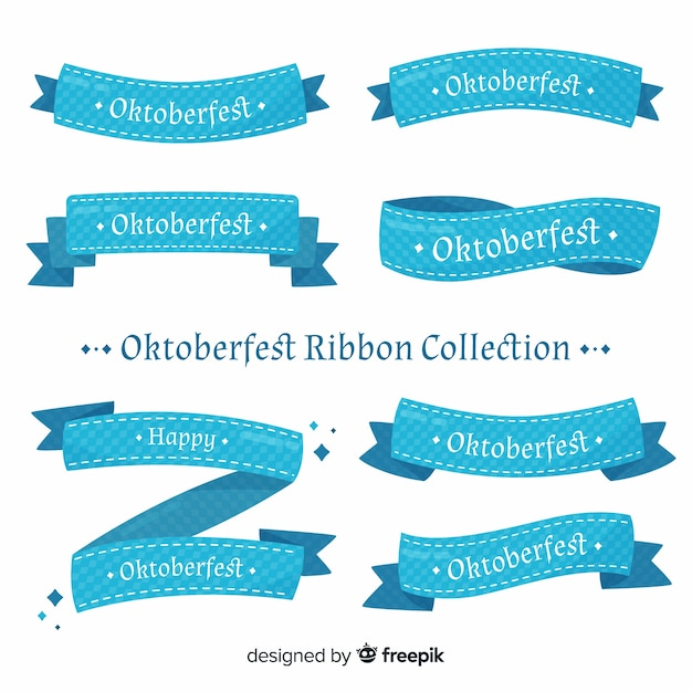 Classic oktoberfest ribbon collection with flat design Free Vector