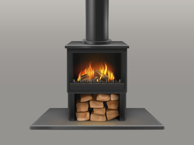 Classic open fireplace with black chimney pipe, dry wood chunks storage Free Vector