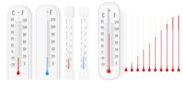 Classic outdoor and indoor thermometer Premium Vector