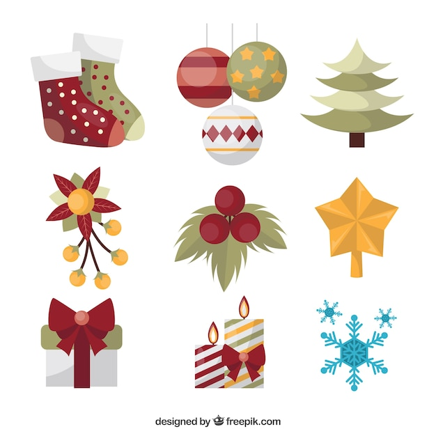 Classic Pack Of Christmas Ornaments Free Vector