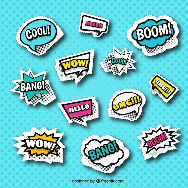 Classic pack of comic stickers Free Vector