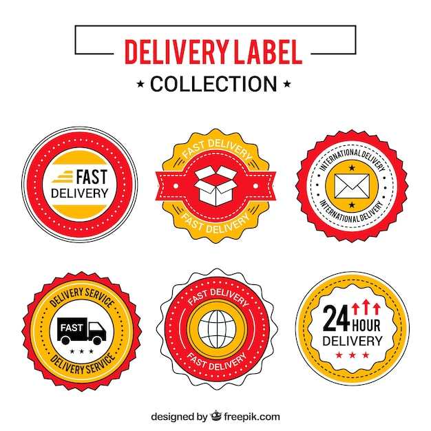 Classic pack of colorful delivery labels