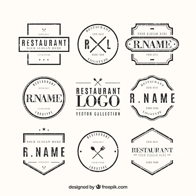 Classic pack of vintage restaurant logos