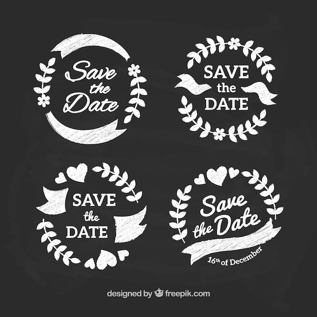 Classic pack of wedding labels on blackboard