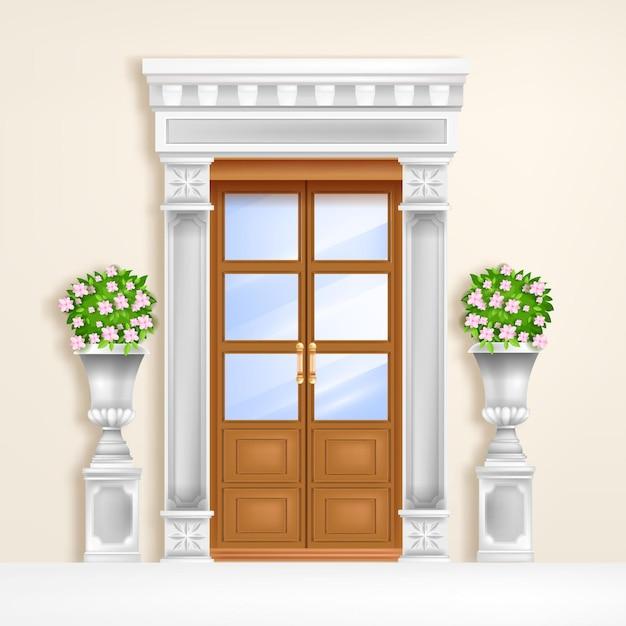 Классическая дворцовая дверь Premium векторы