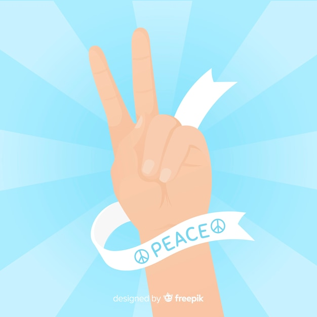 Classic peace fingers with flat design Free Vector