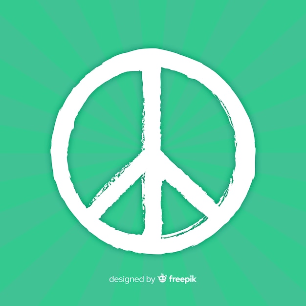 Classic peace symbol with hand drawn style Free Vector