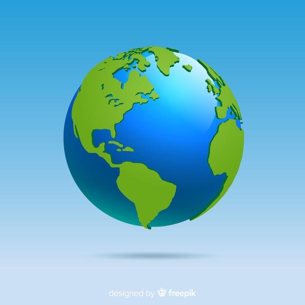 グラデーションスタイルの古典的な地球 無料ベクター