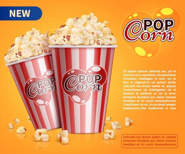 Classic popcorn movie theater snacks vector promotional banner template Premium Vector