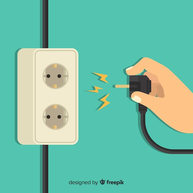 Classic power socket with flat design Free Vector