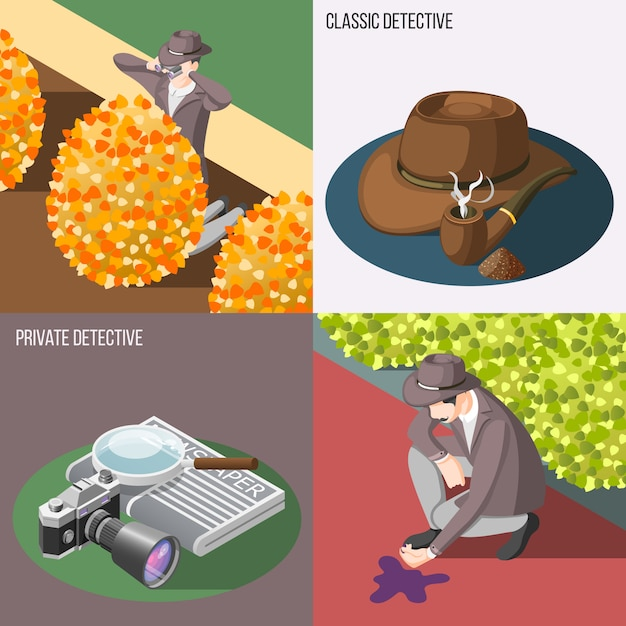 Classic and private detective banner set Free Vector