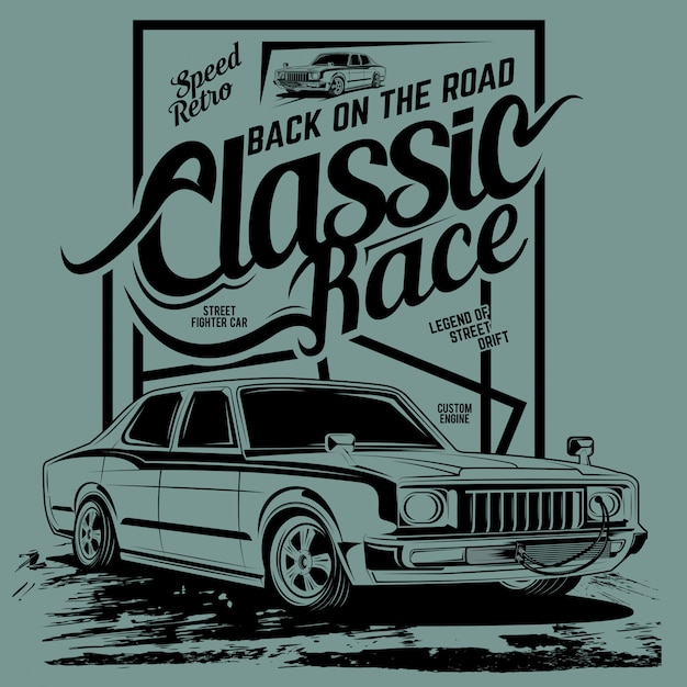 Classic race back on the road, illustration of a sports classic car Premium Vector
