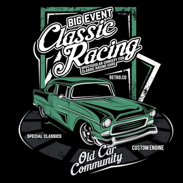 Classic racing, vector car illustration Premium Vector