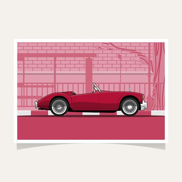 Classic red car conceptual design flat illustration vector Premium Vector