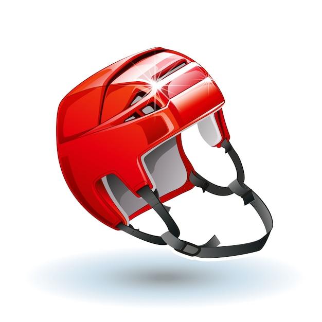 Classic red ice hockey helmet. Premium Vector