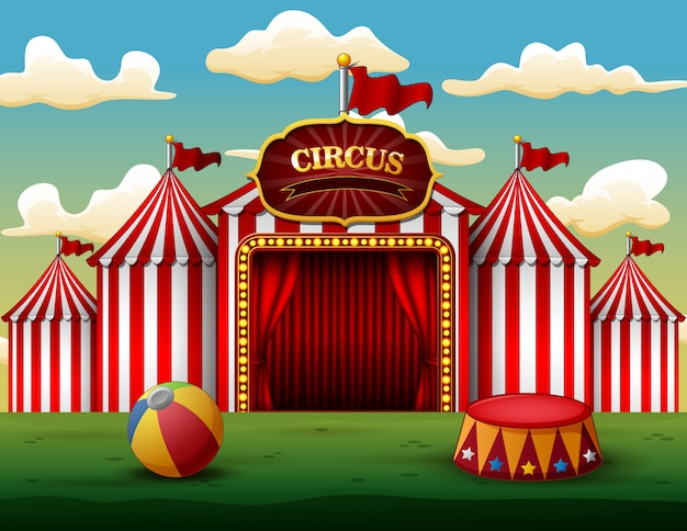 Classic red white circus tent with decorative sign board Premium Vector