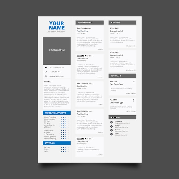 Classic Resume Template Free Vector