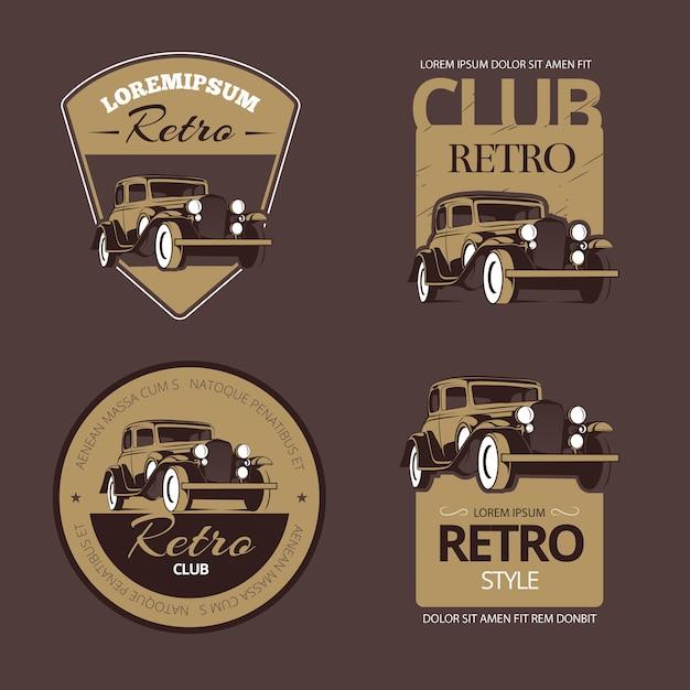 古典的なレトロな車。ヴィンテージラベルセット。古い車両、コレクションのエンブレムとバッジのイラスト 無料ベクター