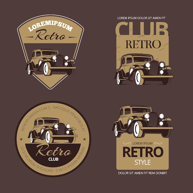 Classic retro cars. vintage labels set. vehicle old, collection emblem and badge illustration Free Vector