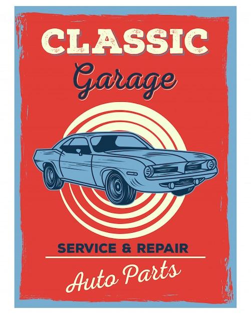 Classic retro vintage old school garage service auto parts Vector ...
