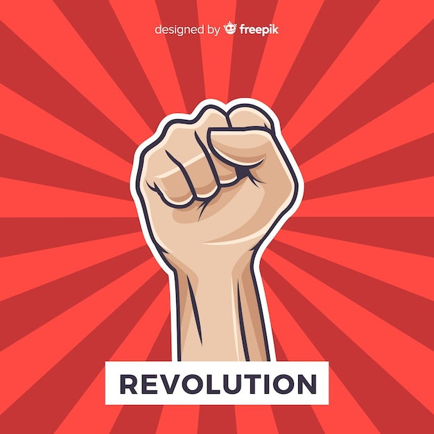 Classic revolution composition with fist Free Vector