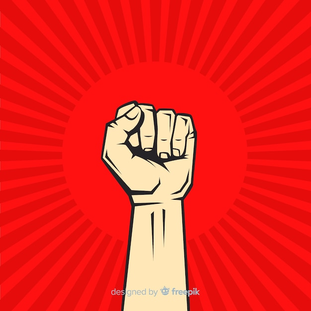 Classic revolution composition with raised fist Free Vector