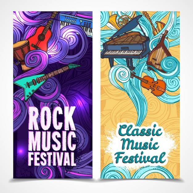 Classic and rock music festival vertical banners set with instruments isolated vector illustration Free Vector