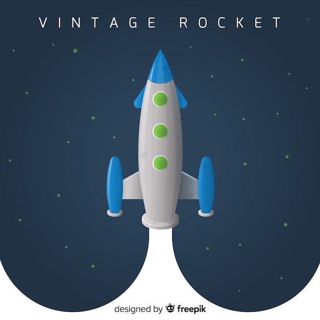 Classic rocket with vintage style Free Vector