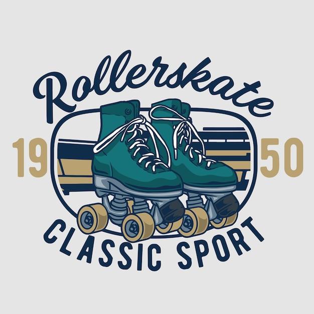 Classic rollerskate Premium Vector