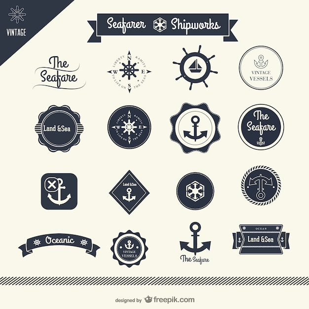 classic sailing stickers    vector Free Vector