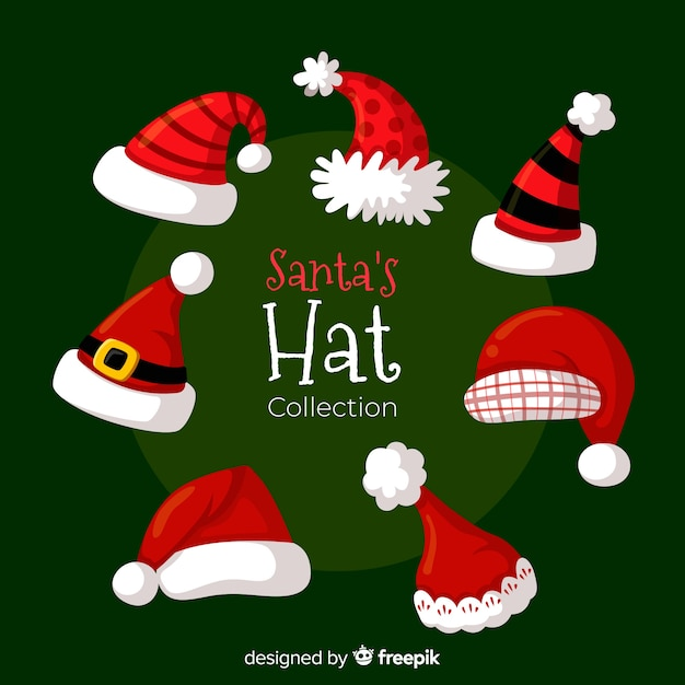 Classic santa's hat collection with flat design Free Vector