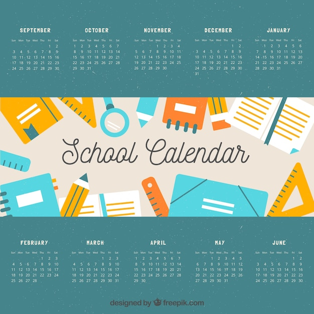 Classic school calendar with lovely style