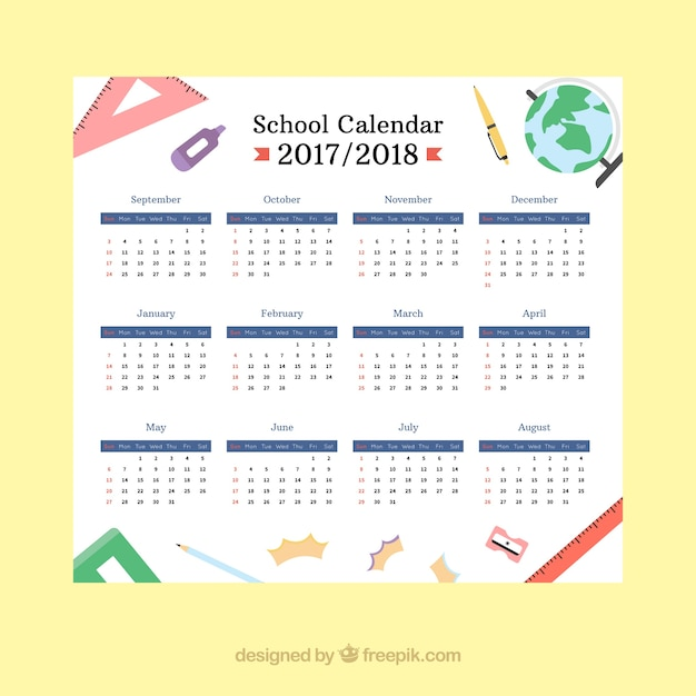 Classic school calendar with materials