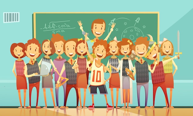 Classic school education classroom retro cartoon poster with standing smiling kids Free Vector