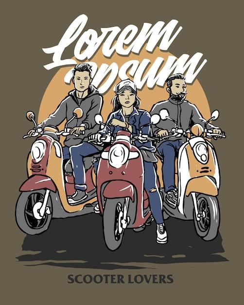 Classic scoot bikers Premium Vector