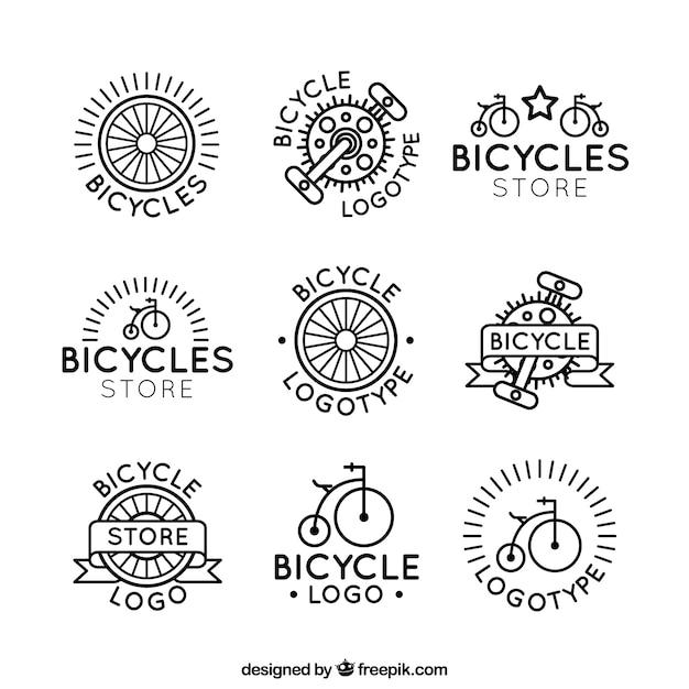 Classic set of bike logos Free Vector