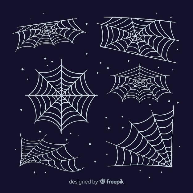 Classic set of halloween spiderwebs Free Vector