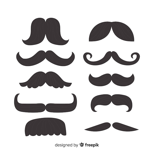 Classic set of moustaches with flat design Free Vector