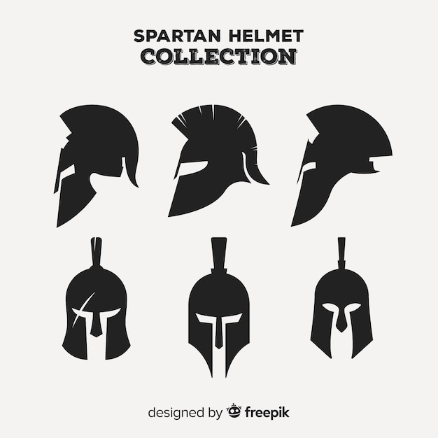 Classic set of spartan helmet with flat design Free Vector