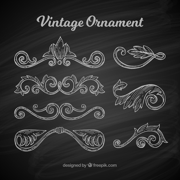 Classic set of vintage ornaments with balckboard style Free Vector
