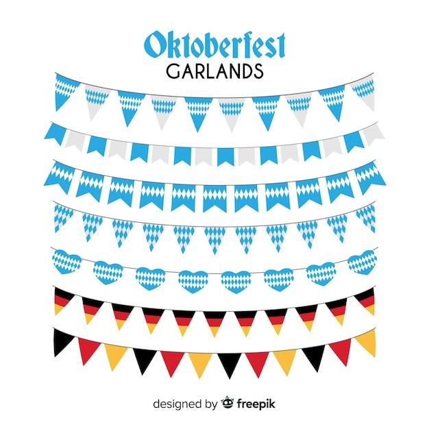Classic set of oktoberfest garlands with flat design Free Vector