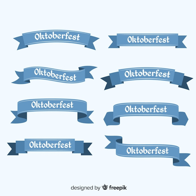 Classic set of oktoberfest ribbon with flat design Free Vector