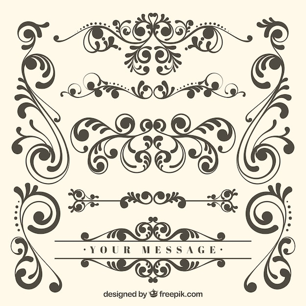 Classic set of vintage ornaments Free Vector