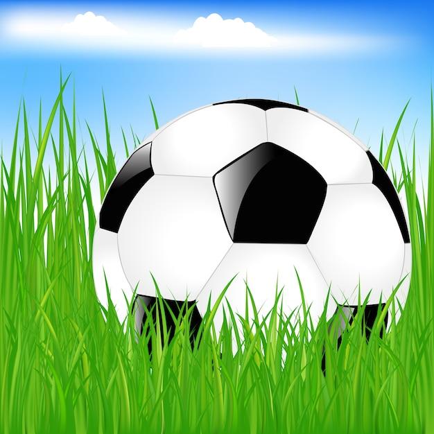 緑の芝生でクラシックなサッカーボール Premiumベクター
