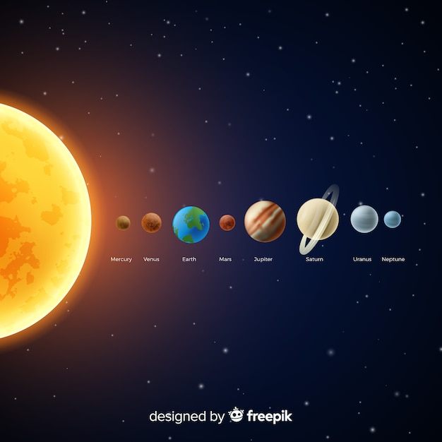 Classic solar system scheme with realistic design Free Vector